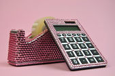 Pink Bling Office Accessories Adhesive Tape Dispenser and Calculator — 图库照片