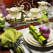 Christmas Eve Green and Pink Dinner Table Setting. — Stock Photo