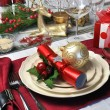 Christmas Day Red and White Table Setting - Stock Photo
