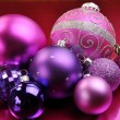Stock Photo: Pink and Purple Christmas Bauble Decorations Horizontal
