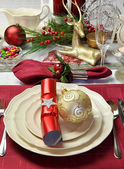 Christmas Day Red and White Table Setting (Vertical) — Stock fotografie