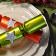 Stylish Green Christmas Table Setting — Stock Photo