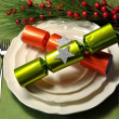 Modern Green Christmas Table Setting — Stock Photo