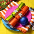 Bright Multi Colored Christmas Table Setting — Stock Photo