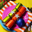 Stylish Multi Colored Bright Christmas Table Setting — Stock Photo