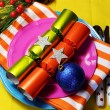 Stylish Multi Colored Bright Christmas Table Setting — Stock Photo #15600551