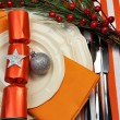 Stylish Orange Christmas Table Setting — Stock Photo