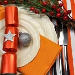 Stylish Orange Christmas Table Setting — Stock Photo #15600611