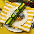 Yellow Christmas Table Setting — Stock Photo