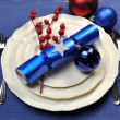 Blue Christmas Table Setting — Stock Photo