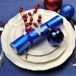 Blue Christmas Table Setting — Stock Photo