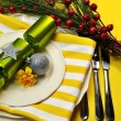 Stylish Yellow Christmas Table Setting — Stock Photo