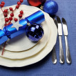 Stylish Blue Christmas Table Setting — Stock Photo