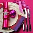 Stylish Candy Pink Fuchsia Christmas Table Setting — Stock Photo
