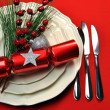Stylish Red Christmas Table Setting — Stock Photo
