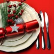 Stock Photo: Stylish Red Christmas Table Setting