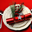 Stock Photo: Red Christmas Table Setting