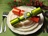 Modern Green Christmas Table Setting — Stock Photo