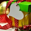 Bright Modern Red, Green and Yellow Christmas Present Close-up — Stock Photo