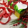 Bright Modern Red, Green and Yellow Christmas Present — Stock Photo