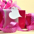 Bright Pink Presents Wrapped in Polka Dot Ribbon — Stock Photo
