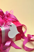 Pink Present Wrapped in Polka Dot Ribbon (Vertical) — Stock fotografie