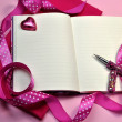 Writing or Planning PInk Diary with Ribbon - Stock Photo