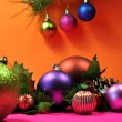 Bright Colored Festive Christmas Baubles. — Stock Photo