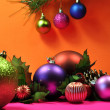 Bright Colored Festive Christmas Baubles. - Stock Photo