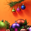 Bright colored festive Christmas holiday decorations (vertical) — Stock Photo