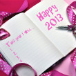 Постер, плакат: Happy 2013 New Year Resolution Pink Diary