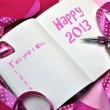 Stock Photo: Happy 2013 New Year Resolution Pink Diary