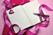 Writing or Planning PInk Diary with Ribbon (horizontal) — Stock Photo