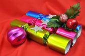 Bright Color Christmas Holiday Bon Bon Crackers. — Stock Photo