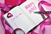 Happy 2013 New Year Resolution Pink Diary — Foto Stock