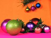 Bright colored festive Christmas holiday decorations — Stock Photo