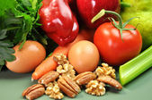 Healthy Food - Fruit , Nuts, Vegetables & Eggs Closeup — Stock Photo