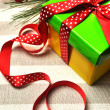 Yellow, Red and Green Christmas Holiday Present — Stock Photo