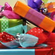 Stack of Bright Color Present Festive Holiday Gifts (vertical) — Stock Photo #16330723