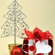 Red Christmas Present Gift with Ornament Tree — Stock Photo