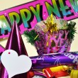 Colorful Happy New Year Party Decorations — Stock Photo