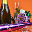 Happy New Year Party Decorations on Orange Background — Photo