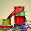 Red & Green Festive Ribbon Gift Wrapping With Scissors (vertical) — Stock Photo #16762659