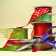 Stock Photo: Red and Green Festive Ribbon Gift Wrapping With Scissors