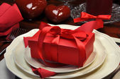 Romantic Valentine Dinner Table Setting with Gift Closeup — Stock Photo