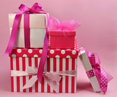 Stack of Pretty Pink Feminine Present Gifts — Stock Photo