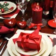 图库照片: Romantic Valentine Dinner for Two Table Setting