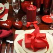 Romantic Valentine Dinner Table Setting (vertical) — Stock Photo