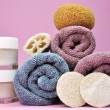 Pink & Purple Beauty Spa Towels and Loofahs — Stock Photo