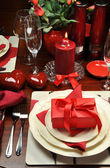 Romantic Valentine Dinner Table Setting (vertical) — Stock Photo